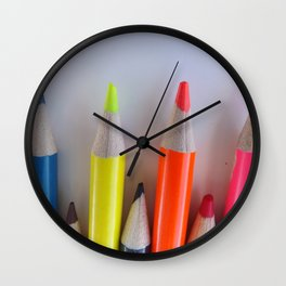 Colored Pencil Tips Wall Clock