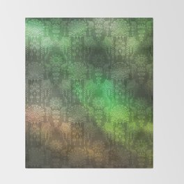 Victorian Potpourri - Faded Splendor Watercolors - EMERALD Throw Blanket