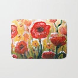 Papaver rhoeas poppy field floral painting Bath Mat