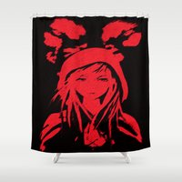 red riding hood Shower Curtains featuring Miss Red riding hood  by Sammycrafts