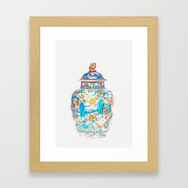 A LARGE BLUE AND WHITE AND IRON-RED DECORATED BALUSTER JAR AND COVER KANGXI PERIOD (1662-1722) water Framed Art Print