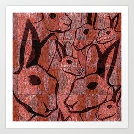 Retro Vintage Mid Century Rabbit Art Print