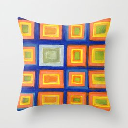 Square Pattern Beaming with Luminous Color Throw Pillow