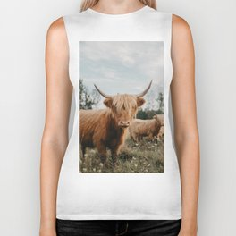 Highland Cow In The Country Biker Tank