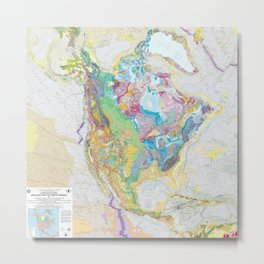 USGS Geological Map of North America Metal Print