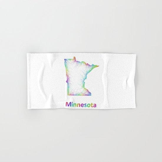 Rainbow Minnesota map Hand & Bath Towel