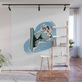 Snowboard Jump Cartoon Wall Mural