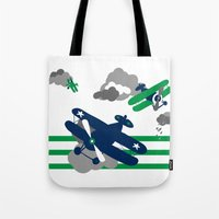 airplanes Tote Bags featuring Vintage Airplanes one  by ann t jones