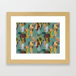 Abstract Kiwi Pattern Framed Art Print