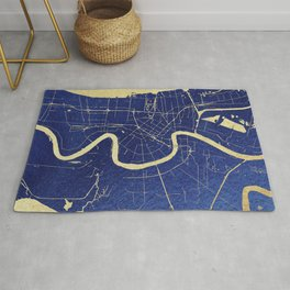 New Orleans Blue and Gold Map Rug