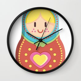 Matryoshka blond girl Wall Clock