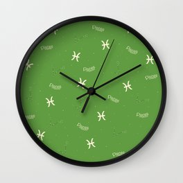 Pisces Pattern - Green Wall Clock