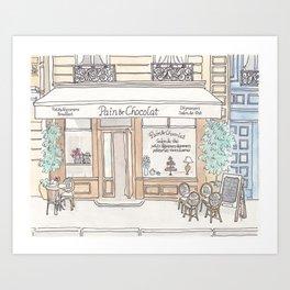 Paris Cafe in Chocolate - Pain et Chocolat  Art Print