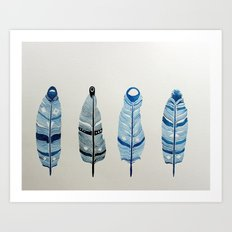 The four siblings of mother bird Art Print