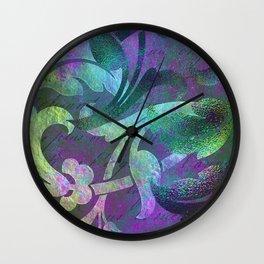 Jeweled Jade & Purple Jungle Floral Designs Wall Clock
