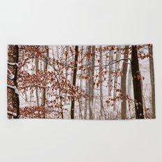 Snowy forest Beach Towel