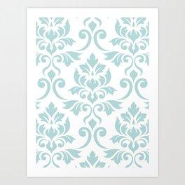 Feuille Damask Pattern Duck Egg Blue on White Art Print