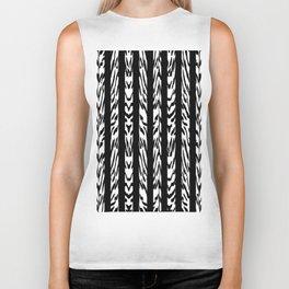 Tribal Black and White Tiger Stripe Pattern Biker Tank