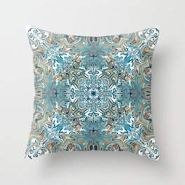Turquoise Blue and Tan Pattern Throw Pillow