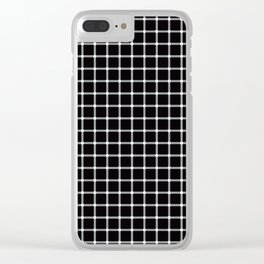 Black and white optical illusion Spots Lines and Squares Clear iPhone Case