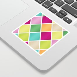 Modern Diamond Geometric Pattern Design // Pink Orange Green Blue Sticker