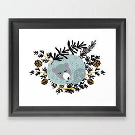 slipping bear Framed Art Print
