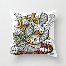Zentangle Autumn Centerpiece Vase Throw Pillow