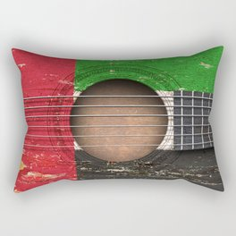 Old Vintage Acoustic Guitar with UAE Flag Rectangular Pillow