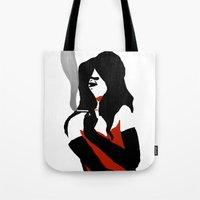 noir Tote Bags featuring Noir by Dvasiia Art