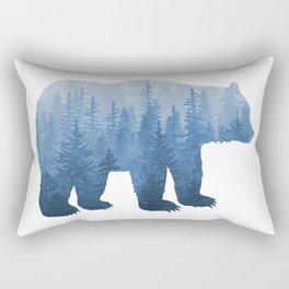 Misty Forest Bear - Blue Rectangular Pillow