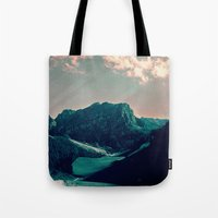 snowboarding Tote Bags featuring Mountain Call by Schwebewesen • Romina Lutz