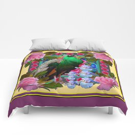 YELLOW-PUCE  PURPLE & PINK ROSES GREEN PEACOCK FLORAL Comforters