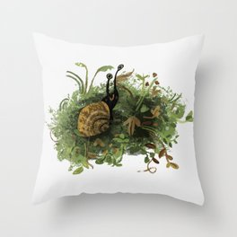 Mossy Snail Throw Pillow