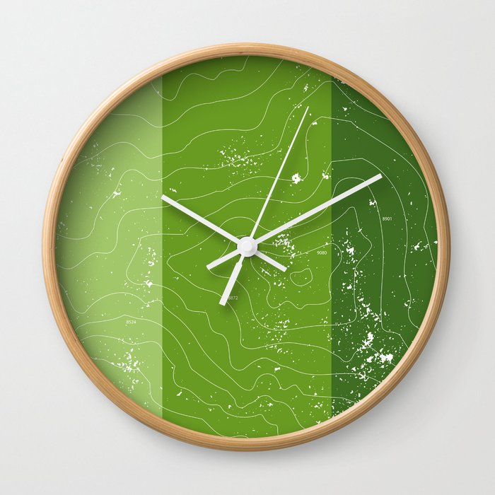 Topographic Map Of A Mountain.Green Topographic Map Of A Mountain Wall Clock By Spadefoot Society6