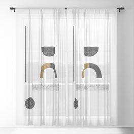 Abstract Geometric III, Modern Artwork Sheer Curtain