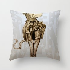 Hipster Monkey Throw Pillow