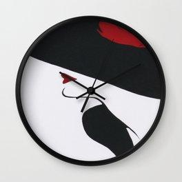 Retro Fashion; Glamour Lady with Black Hat Wall Clock
