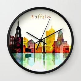 Buffalo City Skyline Wall Clock