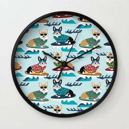corgi surfing dog pattern corgis Wall Clock