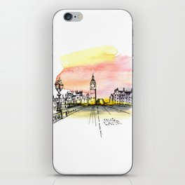 London, Big Ben. Watercolor and ink. iPhone Skin