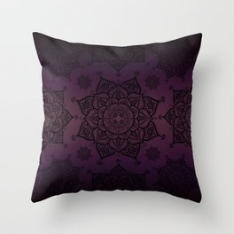 Mandala Violet Black Spiritual Zen Bohemian Hippie Yoga Mantra Meditation Throw Pillow