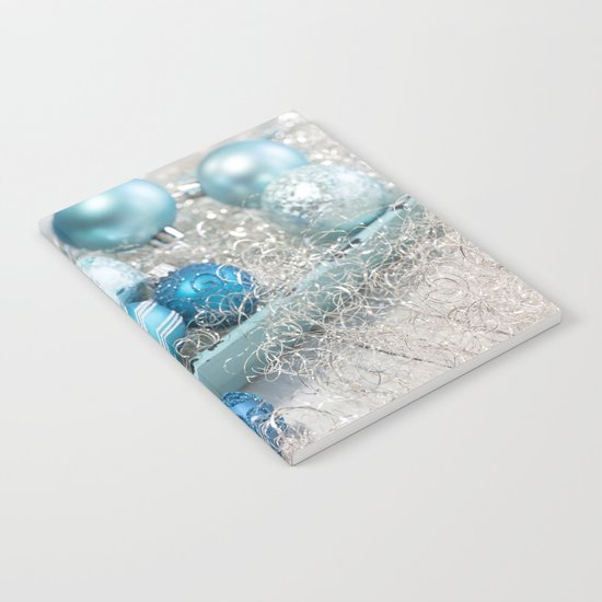 Blue  turquoise christmas baubles and bowl Notebook