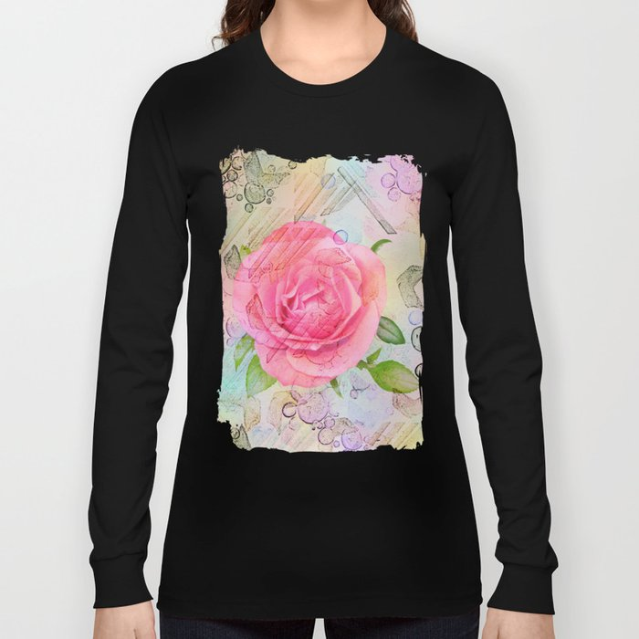 Pink roses on a painterly background Long Sleeve T-shirt