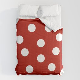 Polka Dots - Mordant Red and White Comforters