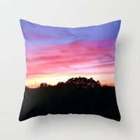 wisconsin Throw Pillows featuring Wisconsin Sunset by Ron Trickett