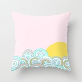 The sun will rise - Rainbow field Throw Pillow