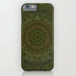 """Autumn mandala"" (Green-Grey Pattern) iPhone Case"