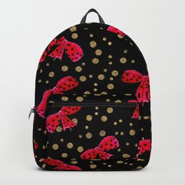 Red bow and glitter golden polka dots seamless pattern Backpack
