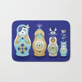Russian Nesting Dolls – Navy Bath Mat