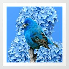 BLUE BIRD & BLUE HYDRANGEAS ART Art Print